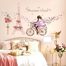 paris eiffel tower cycling girl wall decals cosy romantic bedroom living room decor creative diy wall paper