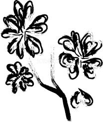 白黒和風の桜イラスト おしゃれ筆書き風39668 素材good
