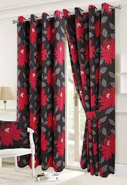 """66"""" x 72"""" Seren/Priscilla Black Fully Lined Half Panama Eyelet pair of  Curtains With Tie Backs: Amazon.co.uk: Kitchen & Home"""