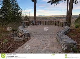 Outdoor Brick Paver Patio Designs Garden Stone Brick Paver Patio View Deck Stock Image Image