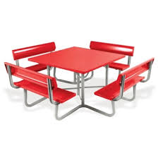 aluminum picnic tables. Square Aluminum Picnic Table With Backrest Benches - 85817 And More Lifetime Guarantee Tables