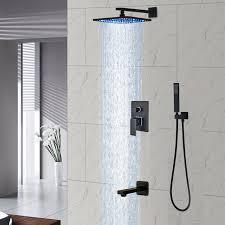 details about oil rubbed bronze shower faucet set 8 led head 3 ways tub shower w hand unit