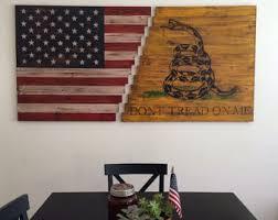planked wood american gadsden flag wall art on painted wood american flag wall art with burned wood flag art etsy
