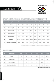 Online Shirt Size Chart Eight Square Size Chart T Shirt 2 U Online T Shirts
