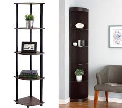 Dark Wood Corner Shelves Mesmerizing Gorgeous Black Corner Shelf 32 Tall Etagere Choozone Unit Rack Nz