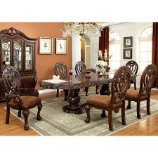 furniture of america beaufort formal 7 piece dining set cherry brown