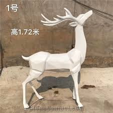white deer statues abstract sculptures outdoor landscape decorations