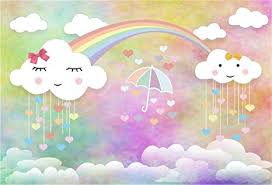 Aofoto 8x6ft Sweet Sky Cute Clouds Background Cartoon Rainbow Love Hearted Raindrop Umbrella Photography Backdrop Birthday Party Decoration Baby Kid