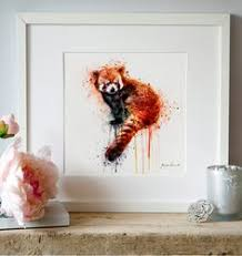red panda instant download watercolor painting printable wall art animal art wildlife aquarelle cute red panda decor lovely red panda poster on red panda wall art with red panda by ununununium deviantart on deviantart red panda