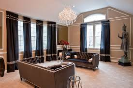 Feng Shui Living Room Design Using Modern Classic Furniture Black Leather  Sofa Completed With Crystal Chandelier