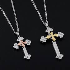 blue sweet couple necklaces rose gold cross pendant for women personalized cross necklace in