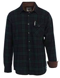 Gioberti Mens Long Sleeve Brushed Flannel Plaid Checkered Shirt With Corduroy Contrast