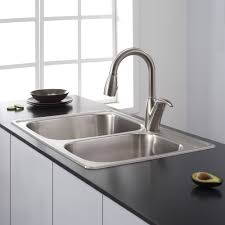 KRAUS 33 Inch Undermount Double Bowl Stainless Steel Kitchen Sink Double Basin Stainless Steel Kitchen Sink