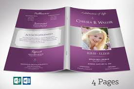 Lavender Regal Funeral Program Word Publisher Template 4 Pages Bi Fold Size 5 5 X8 5