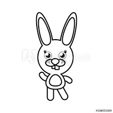 Cartoon Bunny Animal Outline Vector Illustration Eps 10 Buy This