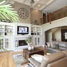 decorating ideas for living rooms with high ceilings. Exellent Rooms I Need To Somehow Connect Our Fireplace W The Builtins And High  Ceilings Intended Decorating Ideas For Living Rooms With High Ceilings