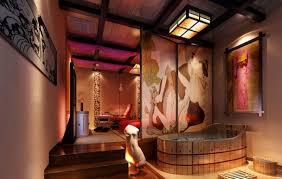 Japanese Bathrooms Design Brown Oak Finished Wooden Cabinet Vanity Modern Japanese Bathroom