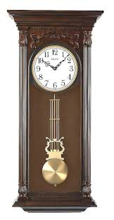 bulova wall clock chiming pendulum wall clock brown cherry finish ii bulova wall clock