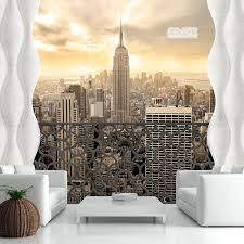 3d wallpaper with city images for small living room walls