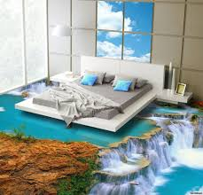 Unique Bedroom Paint Ideas With Natural Theme Decor For Relaxing Using  Jungle Style And Creative Flooring Waterfall Paint