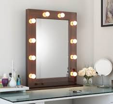 Black Mirror With Lights Tall Led Hollywood Mirror Dark Brown Freestanding