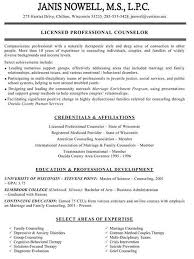 counseling resume examples
