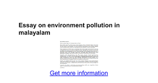 essay on environment pollution in malayalam google docs