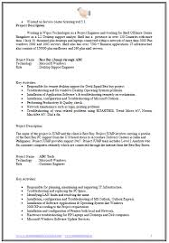 Resume Format For Desktop Support Engineer Resume Template Sample