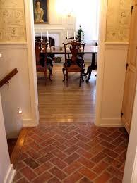 Fake Brick Flooring   Great White Wall Painted Also Faux Brick Herringbone  Tile Floor As .