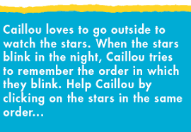 left border caillou loves to go outside to watch the stars when the stars blink in the
