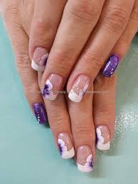 purple glitter with white french tips and one stroke flower nail ...
