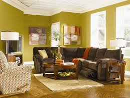 Yellow Brown Living Room Room With Yellow Wall And Brown Sofa Home Decor Interior And