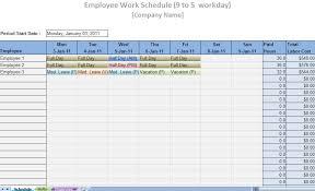Printable Work Schedule Templates Free Employee Work Schedule Template Excel
