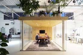 greenery office interiors. Plant-Covered Office Pods - This Loft In Rotterdam Includes An Indoor Garden Roof Greenery Interiors