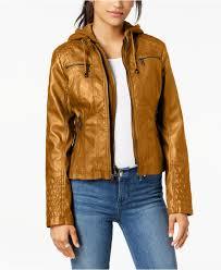 maralyn me women s juniors hooded faux leather moto jacket