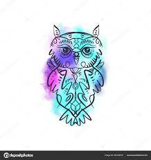 Watercolor Owl Tattoo Watercolor Owl Tattoo Boho Tribal Style Line