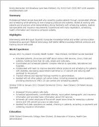 Resume Templates: Patient Access Specialist