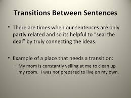 transitioning sentences the three transition types