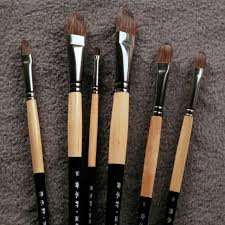 6pcs set trition smooth and soft squirre hair paint brush for acrylic aquarelle
