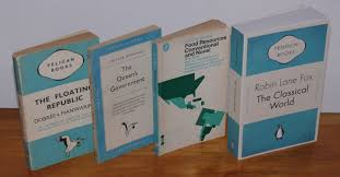 four pelican book covers showing the gradual shift in the design from left 1937 three bands 1955 grid 1969 ilrated and 2007 a penguin