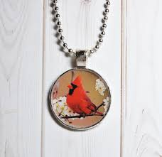 cardinal necklace red bird jewelry keyring gift for her within