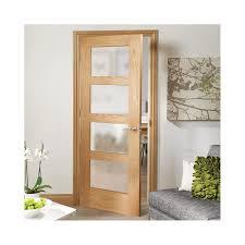 internal oak fully finished shaker 4l door with obscure glass pfgosha4l