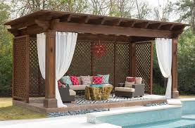 outdoor pergola curtains swimming pool and hot tub mediterranean with outdoor curtains simple and dark stained