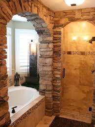rustic stone bathroom designs. copper rustic bathroom with bathtub stone designs