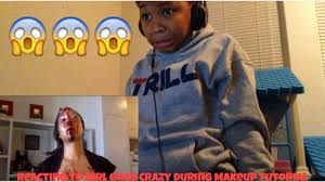 reacting to goes psycho during makeup tutorial