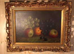 victorian antique oil painting still life of fruit on canvas