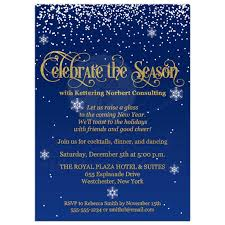 Corporate Holiday Party Invite Celebrate The Season Corporate Party Invite Navy Gold Faux Foil Glitter Falling Snow
