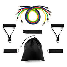 Home Treats <b>11pc</b> Exercise <b>Resistance Bands Set</b> with Handles ...