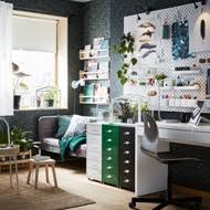 Ikea office inspiration Workspace An Organized Home Workspace With Helmer Drawer Units On Castors In White Green And Black Ikea Workspace Inspiration Ikea