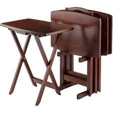 Set of 4 Portable Wood TV Table Folding Tray Desk Serving Furniture Walnut  New - Walmart.com